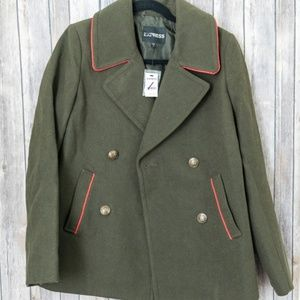 NWT Express Army Green Double Breasted Peacoat S